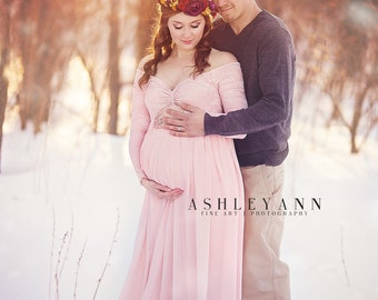 Full Lining Blush Pink Lace Chiffon Off Shoulders Long Sleeves Maternity  Gown, Long Sleeves Maternity