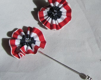 Patriotic Ruffle Rosette Lapel Pin Boutonniere - Red, White, Blue - Stickpin or Tie Tack - Everyday / Wedding / Prom