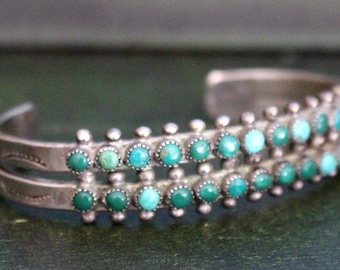 Turquoise and Silver Row Cuff Bracelet Stamped Southwest Native American