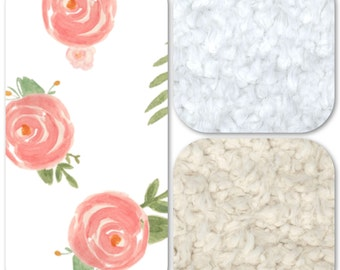 Minky and Faux Fur Blanket - Soft Floral