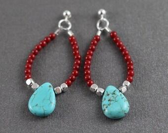 Coral and turquoise earrings beaded dangle earrings sterling silver earrings gifts for her boho chic earrings woman's earrings