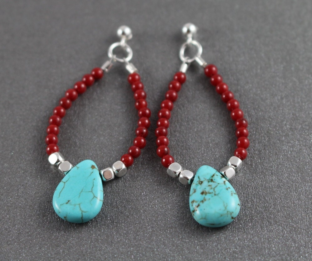coral and turquoise earrings beaded dangle earrings sterling