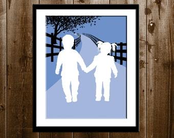 Custom Father's Day Gift, 2 Children with Background Accent Silhouette Portrait, Brother and Sister Art, Gifts for Dad, Custom Silhouette