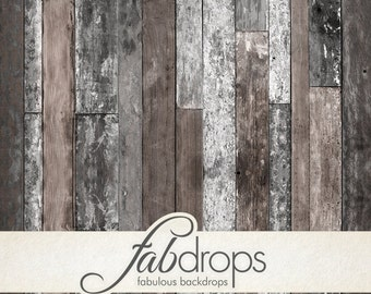 4x5 Reclaimed Farm Wood Backdrop   Distressed painted wood backdrop for photos - Fab Vinyl 4x5 ft (FV0552)