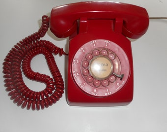 Red Vintage Rotary Telephone