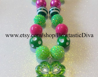 St Patrick's Day Four Leaf Clover Chunky Bubblegum Necklace