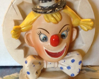 Vintage Colorful Clown Planter