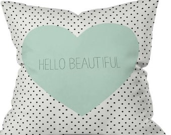 Hello Beautiful Down Feather Pillow