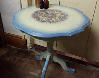 Pretty boho style side table ~ Annie Sloan Cream & Greek Blue Chalk Paint, Clear waxed.
