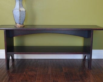 Antiqued Sitting Bench, Storage Bench, Entryway Bench in Black over Red