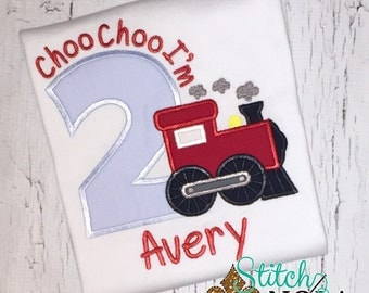 Choo Choo I'm 2 Train Birthday Shirt or Bodysuit