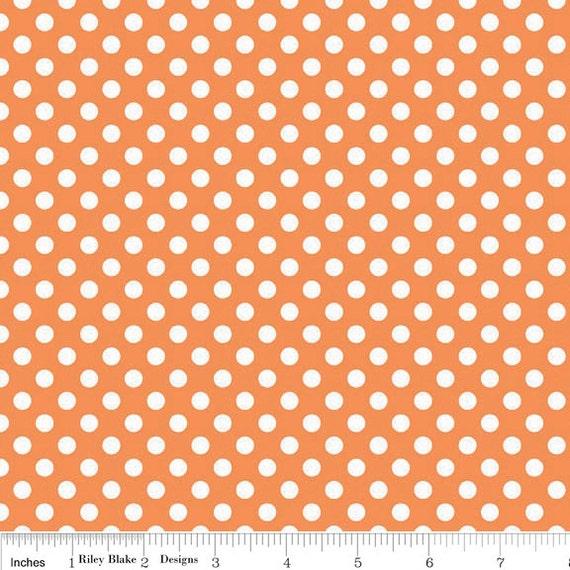 Orange Small Dots Fabric, Riley Blake, 100% Cotton, Orange Polka Dots