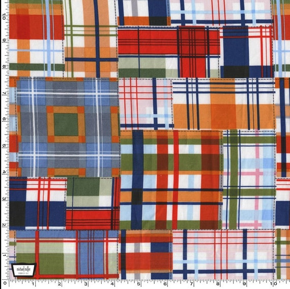 Patchwork Plaid Fabric Michael Miller DC5159 100% Cotton