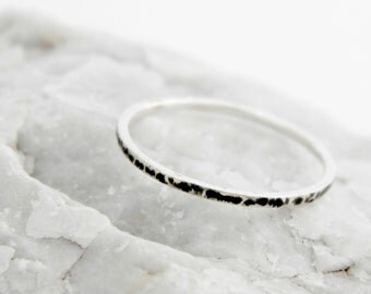 Silver hammered tiny ring, silver oxidized slim ring, Sterling silver delicate hammered ring