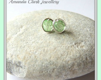 Lime Green Wire Wrapped Stud Earrings | Silver plated | Non Tarnish Earrings | Ladies Earrings | Mothers Day