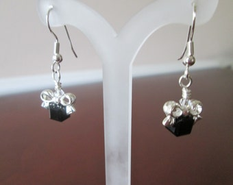 Silver Black Christmas Dangle Earrings, gift idea, handmade holiday jewelry, small simple earrings, stocking stuffer, made in USA jewelry