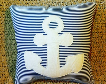 Anchor Pillow, Stripes Blue and White
