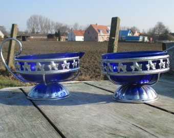 Retro cobalt Blue Glass Silver Metal Sugar Bowl and Milk jar Creamer vintage