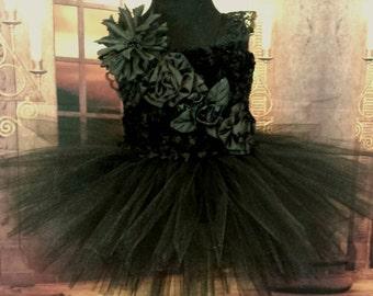 Black swan, black tutu dress ,pagean dress, birthday, wedding tutu, flower girl dress, flower girl tutu, black ballerina dress