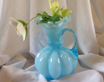 Vintage Fenton, vintage  blue vase,  art glass,  melon pitcher, vase, ewer, fluted,ruffled, ombre effect