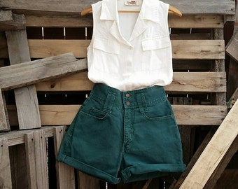 Vintage High-Waisted Authentic Lei Jean Green Shorts (US Size 7/8)