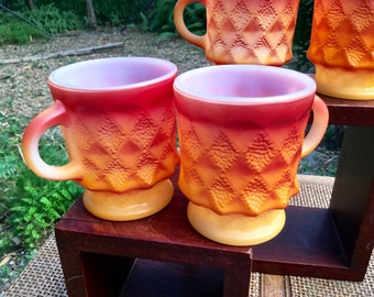 Anchor Hocking Fire King Milk Glass Kimberly  Diamonds mug in collectors condition. burnt orange to yellow fade
