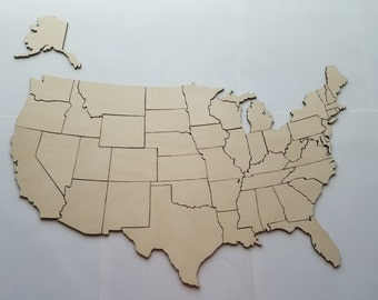 Laser Cut Wooden United States Puzzle Game