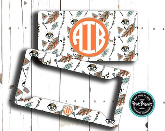 Boho Feather Aztec Eye License Plate , Car Plate, Monogram License Frame, Bicycle Tag, Bicycle Plate, Front Car Tag, Personalized Tag 20LT