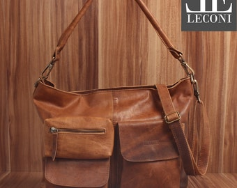 LECONI shoulder bag shoulder bag leather bag lady vintage retro Leather Brown LE0039-wax