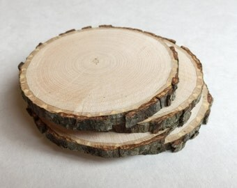 4 Wood Slice Coasters - set of wood coasters - Great for Housewarming Gift