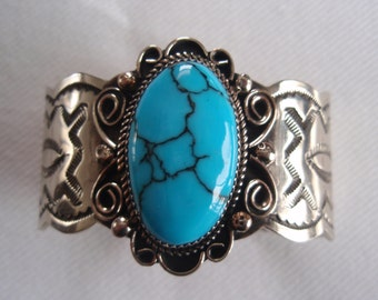 Vintage Navajo Silver Turquoise Cuff Bracelet Marked AC Albert Cleveland Collectible Jewelry B5