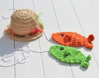 Fisherman Hat, Crochet Fishing Hat, Fishing Hat, Fishing Photo Prop, Baby Fishing Hat, Baby Boy Fisherman, Crochet Fisherman, Crochet Fish