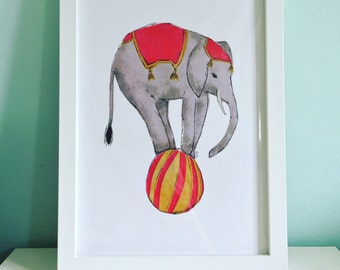 A4 Circus Elephant Print