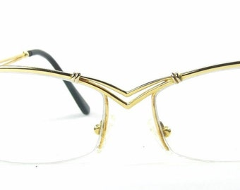 RARE Lotos 82061 Solid 18KT Gold .43 ct TW-vsi Diamond Cat Eye Rimless Double Bridge Fancy Designer Frames Jewelry Eyeglasses 1990s Germany