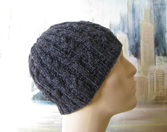 Men's Knit Hat Sock Yarn Hat ' Cosmo-2'  or chemo hat.