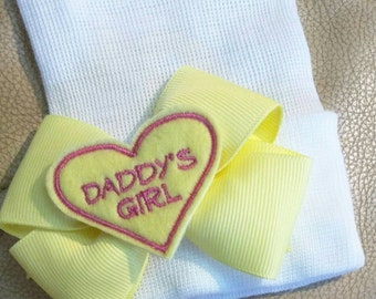 Our Popular Newborn Hat Now with Yellow Daddy's Girl Embellishment on Yellow Bow. Newborn Hospital Beanie.  Baby Newborn Hats.