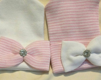 NEWBORN Hospital Hats. Two 2 Ply Hats Twin Babies 1st Keepsakes! 2 Newborn Hospital Beanies. Newborn Baby Hats Newborn Beanies.