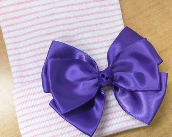 Newborn Hospital Hat! Purple Bow! Sweet! Perfect as part of going home outfit too! Your Baby Will Be The