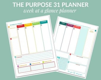 PDF: The Purpose 31 Week-at-a-Glance Planner | Life Planner | 190 pages