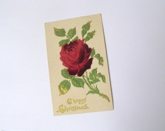 SALE Vintage Christmas postcard: features a flocked velvet style red rose. Collectible ephemera or for use in craft, scrapbook, journal.