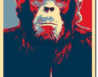Chimp Original Art Print - Photo Poster Gift