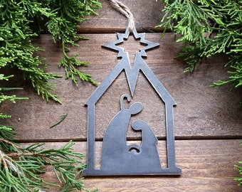 Nativity Christmas Ornament Rustic Metal Christmas Tree Ornament Holiday Gift Industrial Decor Wedding Favor By BE Creations