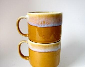 set of two vintage drip glaze stacking mugs