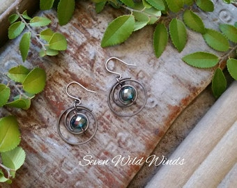 Copper Spiral Earrings with Crystals