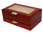 Men's Watch & Valet Box with Sliding Drawer | Solid Padauk and Birdseye Maple