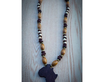 Brown Africa on Mix of Tube and Wood Beads