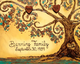 "Simply Sweet FAMILY TREE 9"" x 12"", Custom Handmade  Wood Burned on Birch Wood and Enhanced with Oil & Latex Paint by Vicki Hamende"