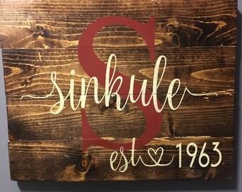 Rustic Personalized Inital/Last name wood sign