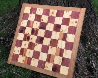 """Wooden Chess Board - Cedar and Pine with Chestnut Frame - Solid Wood Handmade Chessboard 1.5"""" Squares"""