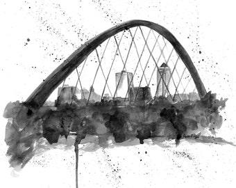 Des Moines Skyline Art - Des Moines Iowa skyline - Des Moines Art- Des Moines Skyline print - Des Moines Painting - Des Moines Iowa Art